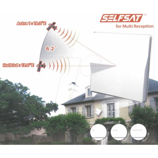 Antena Satelit Selfsat H50M4 pentru receptia a 2 sateliti 6° pentru 4 utilizatori