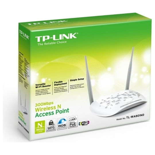 "ACCESS POINT TP-LINK wireless 300Mbps, port 10/100Mbps, 2 antene externe, pasiv PoE, 2T2R, Client, Repeater, Bridge, ""TL-WA801ND"""