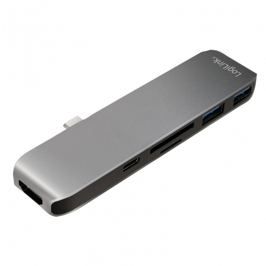 "HUB USB 3.1 extern LOGILINK, Type-C 1*USB, 1*HDMI, 1*SD card, 1*microSD, 2*USB 3.0, silver& black ""UA0301"""