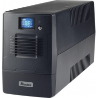 UPS MUSTEK Line Int. cu management, LCD, 800VA/ 480W, AVR, 2 x Schuko, LCD, 1 x baterie 12V/9Ah