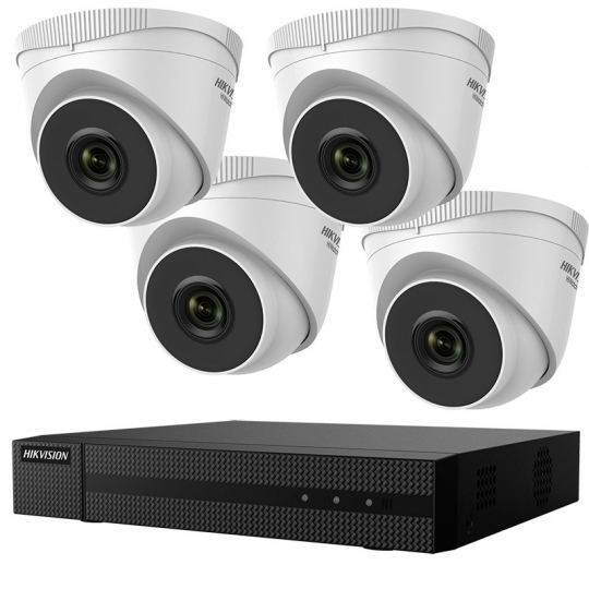 KIT SUPRAVEGHERE HIKVISION, IP, 4 camere dome HWI-T220H + 1 DVR 4 canale HWN-2104MH-4P + 1TB HDD