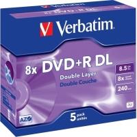DVD+R VERBATIM  8.5GB, 240min, viteza 8x,  5 buc, Double Layer, carcasa,