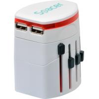 ADAPTOR priza SPACER universal + 2 x USB, util in 150 tari, white